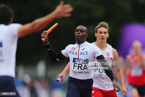 Thomas Jordier of France celebrates winning the Men's 4x400m Relay on day four of the European Athletics U23 Championships at Kadriorg Stadium on...