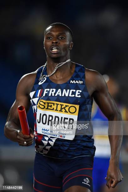 Thomas Jordier of France competes during round 1 of the Men's 4x400m Relay on day one of the IAAF World Relays at Nissan Stadium on May 11 2019 in...