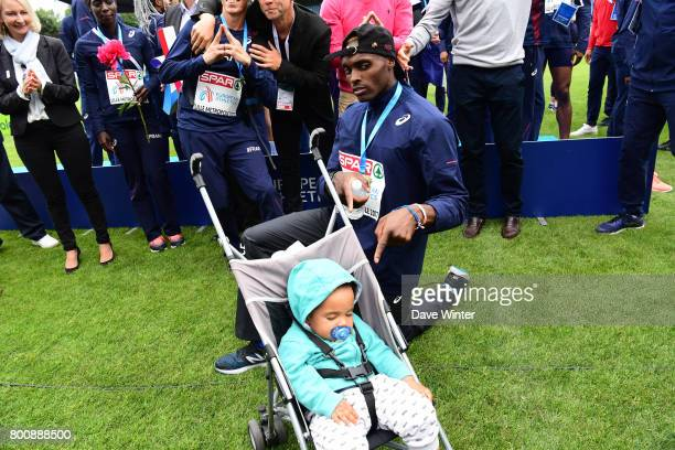 Thomas Jordier with his sleeping son after the European Athletics Team Championships Super League at Grand Stade Lille Metropole on June 25 2017 in...