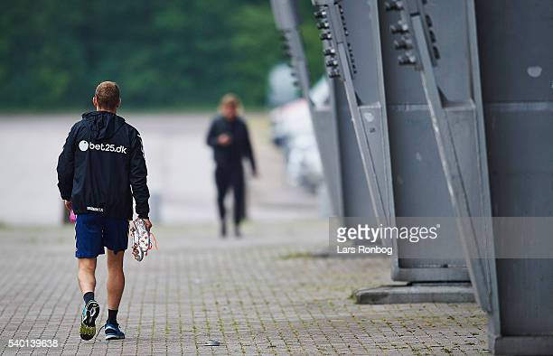 Thomas Kahlenberg of Brondby IF heading for the locker room after the Brondby IF training session at Brondby Stadion on June 14 2016 in Brondby...