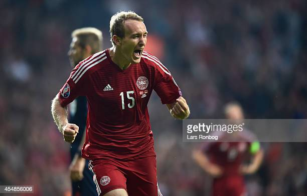Thomas Kahlenberg of Denmark celebrates after scoring their second goal during the UEFA 2016 Group I Qualifier between Denmark and Armenia at Parken...