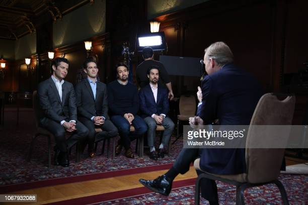 Thomas Kail Andy Blankenbuehler LinManuel Miranda and Alex Lacamoire from the 'Hamilton' creative team during a CBS Morning News interview taping...