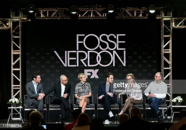 Thomas Kail Sam Rockwell Michelle Williams Steven Levenson Nicole Fosse and Joel Fields of the television show Fosse/Verdon speak during the FX...