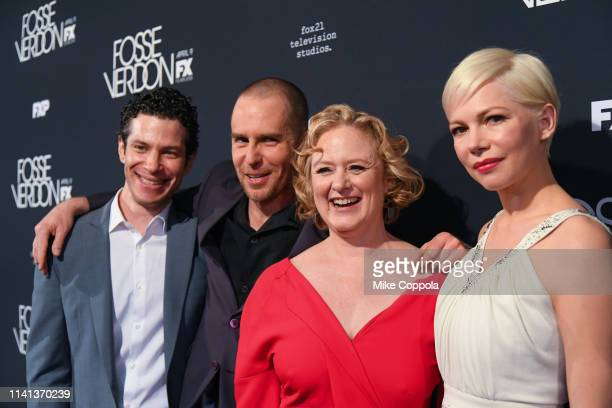 Thomas Kail Sam Rockwell Nicole Fosse and Michelle Williams attend FX's Fosse/Verdon New York Premiere on April 08 2019 in New York City