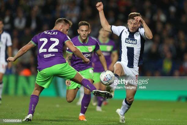 Thomas Kalas of Bristol City and Harvey Barnes of West Bromwich Albion during the Sky Bet Championship match between West Bromwich Albion and Bristol...