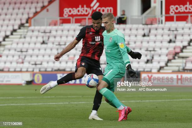 Thomas Kaminski of Blackburn Rovers blocks Dominic Solanke of Bournemouth shot during the Sky Bet Championship match between AFC Bournemouth and...
