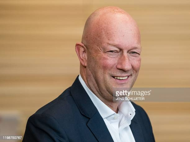 Thomas Kemmerich leader of Free Democratic Party in Thuringia and newly elected Prime Minister of Thuringia smiles vote in the Thuringian state...