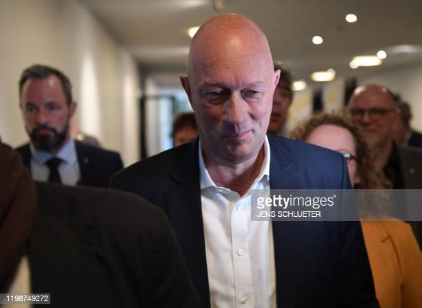 Thomas Kemmerich leader of the state branch of Thuringia's Free Democratic Party and newly elected Prime Minister of Thuringia is seen after his...