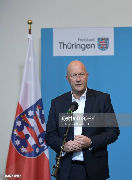 Thomas Kemmerich leader of the state branch of Thuringia's Free Democratic Party and newly elected Prime Minister of Thuringia speaks to the media...
