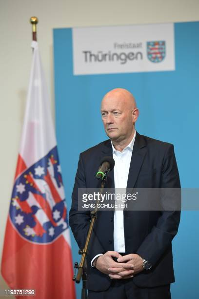 Thomas Kemmerich leader of the state branch of Thuringia's Free Democratic Party and newly elected Prime Minister of Thuringia looks on during a...
