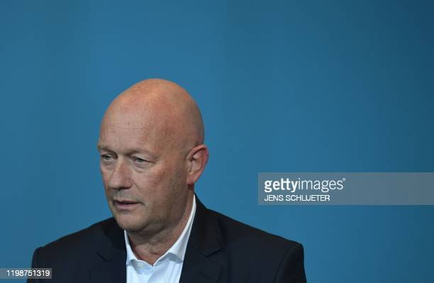Thomas Kemmerich leader of the state branch of Thuringia's Free Democratic Party and newly elected Prime Minister of Thuringia speaks during a press...