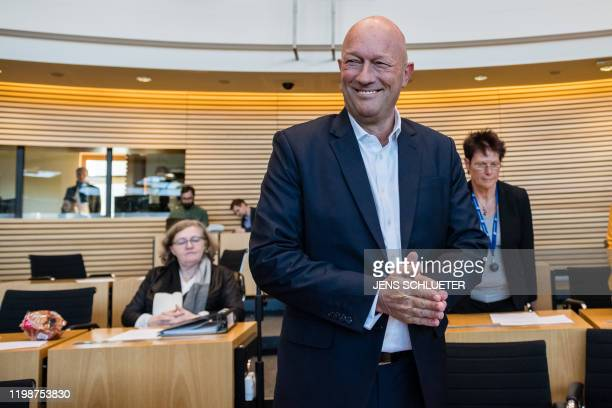 Thomas Kemmerich leader of the state branch of Thuringia's Free Democratic Party and newly elected Prime Minister of Thuringia is seen in the...