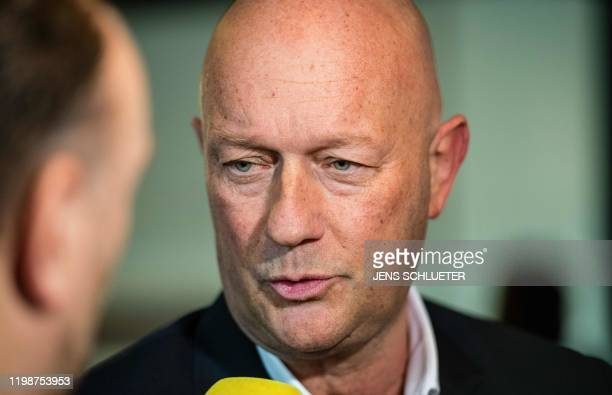 Thomas Kemmerich leader of the state branch of Thuringia's Free Democratic Party and newly elected Prime Minister of Thuringia speaks to journalists...