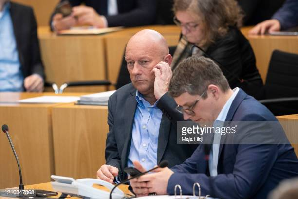 Thomas Kemmerich of FDP looks on during elections of a new governor of Thuringia at the Thuringia state parliament on March 4 2020 in Erfurt Germany...