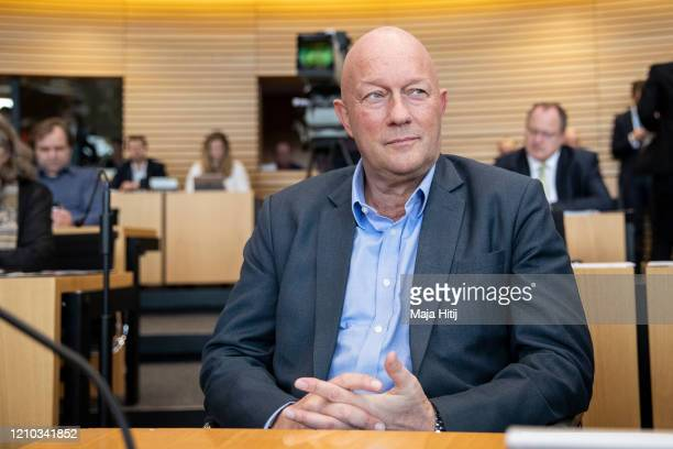 Thomas Kemmerich of FDP looks on prior elections of a new governor of Thuringia at the Thuringia state parliament on March 4 2020 in Erfurt Germany...