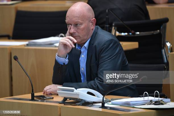 Thomas Kemmerich of the FDP attends the election of the Thuringian State Premier at the Thuringian State Parliament in Erfurt eastern Germany on...