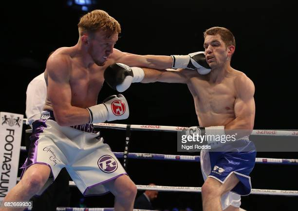 Thomas Kindon in action against Ashley Lane during their Featherweight fight at First Direct Arena Leeds on May 13 2017 in Leeds England