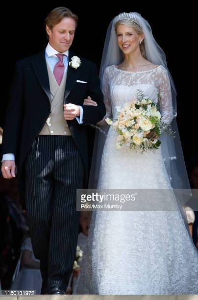 Thomas Kingston and Lady Gabriella Windsor leave St George's Chapel after their wedding on May 18, 2019 in Windsor, England.