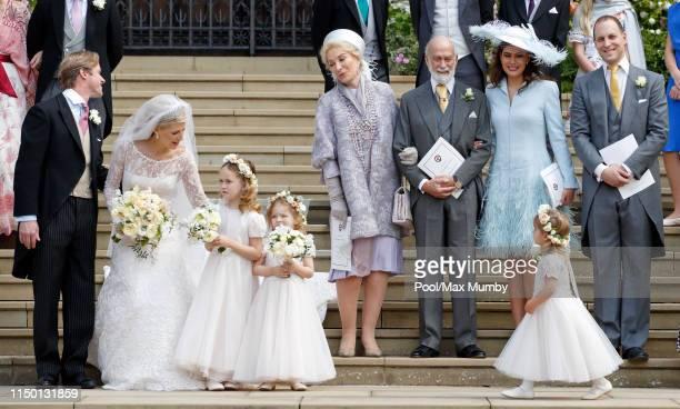Thomas Kingston, Lady Gabriella Windsor, Princess Michael of Kent, Prince Michael of Kent, Lady Frederick Windsor and Lord Frederick Windsor leave...