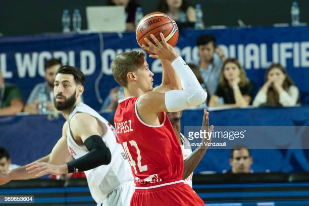 Thomas Klepeisz of Austria passes the ball during the FIBA Basketball World Cup Qualifier match between Georgia and Austria at Tbilisi Sports Palace...