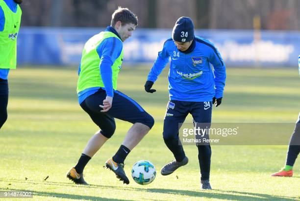 Thomas Kraft and Maurice Covic of Hertha BSC during the training session at the Schenkendorfplatz on february 6 2018 in Berlin Germany