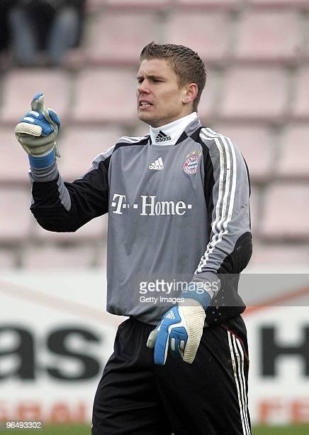 Thomas Kraft goal keeper of FC Bayern II during the 3Liga match between SpVgg Unterhaching and Bayern Muenchen II at the Generali Sportpark on...