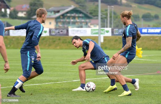 Thomas Kraft Karim Rekik and Alexander Esswein of Hertha BSC during the training camp at the Athletic Area Schladming on august 7 2018 in Schladming...