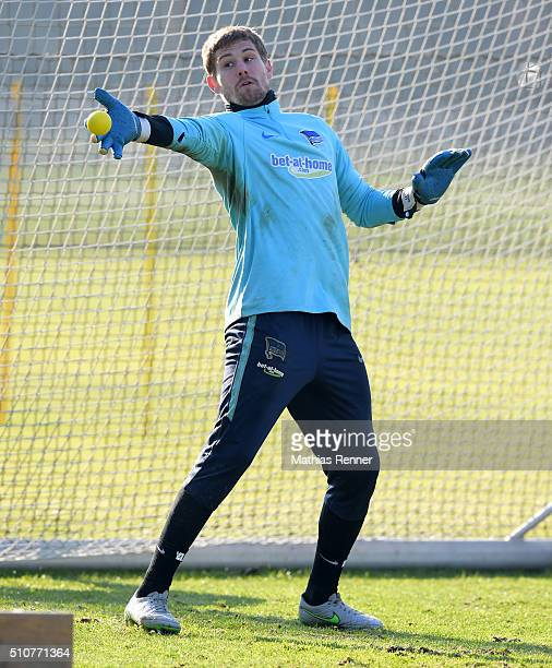 Thomas Kraft of Hertha BSC during the training session at Schenkendorfplatz on February 17 2016 in Berlin Germany