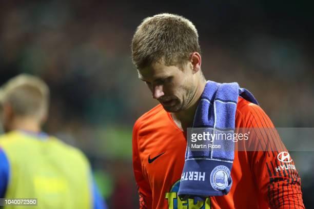 Thomas Kraft of Hertha BSC looks dejected after the Bundesliga match between SV Werder Bremen and Hertha BSC at Weserstadion on September 25 2018 in...