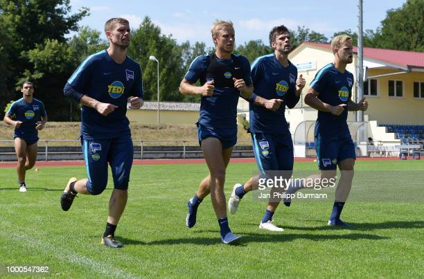Thomas Kraft Per Skjelbred Rune Almenning Jarstein and Arne Maier of Hertha BSC during the traininglagers at the VolksparkStadion on july 17 2018 in...