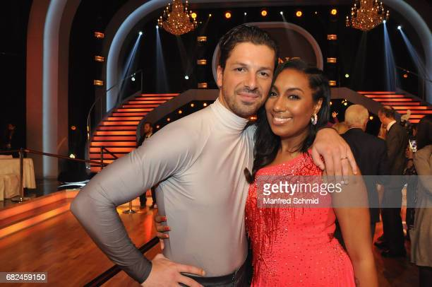 Thomas Kraml and Ana Milva Gomes pose during the 'Dancing Stars' TV Show at ORF Zentrum on May 12 2017 in Vienna Austria