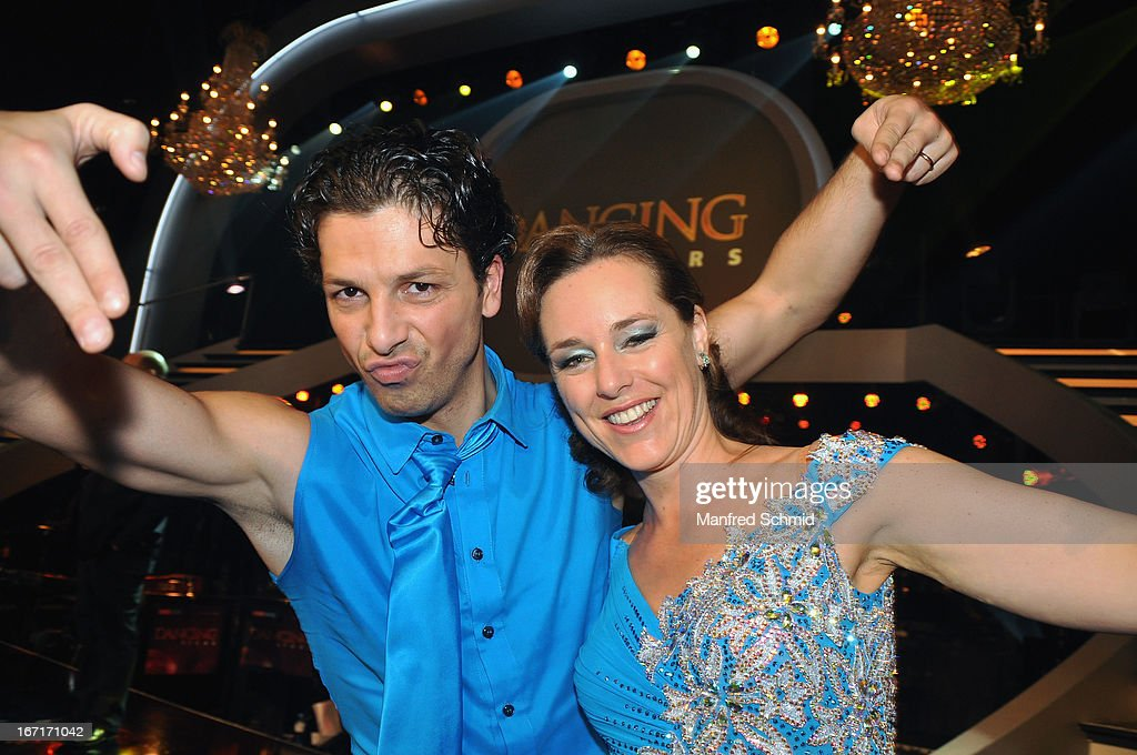 Thomas Kraml and Angelika Ahrens pose on stage after the TV Show 'Dancing Stars' at ORF Center on April 19, 2013 in Vienna, Austria.