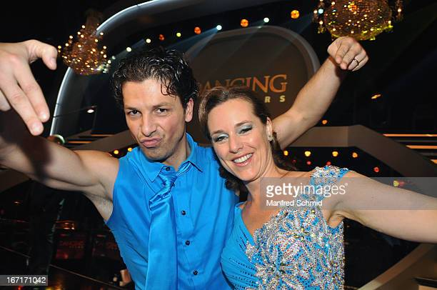Thomas Kraml and Angelika Ahrens pose on stage after the TV Show 'Dancing Stars' at ORF Center on April 19 2013 in Vienna Austria