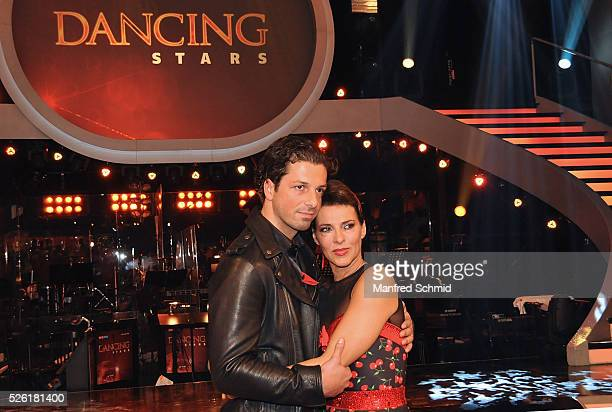 Thomas Kraml and Sabine Petzl pose during the 'Dancing Stars' TV show in Vienna at ORF Zentrum on April 29 2016 in Vienna Austria