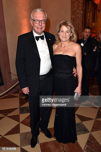 Thomas Kreuzer and his partner Mechthilde Wittmann during the new year reception of the Bavarian state government at Residenz on January 13 2017 in...