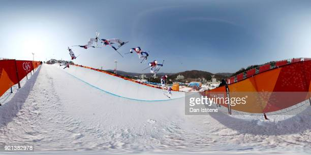 Thomas Krief of France competes during the Freestyle Skiing Men's Ski Halfpipe Qualification on day eleven of the PyeongChang 2018 Winter Olympic...