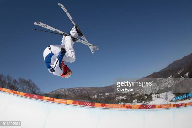 Thomas Krief of France in action during Freestyle Skiing Ski Halfpipe training on day eight of the PyeongChang 2018 Winter Olympic Games at Phoenix...