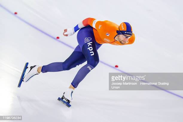 Thomas Krol of Netherlands competes in the Men's 1500m during day 1 of the ISU European Speed Skating Championships at ice rink Thialf on January 10,...