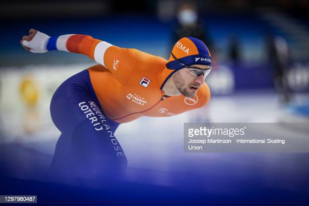 Thomas Krol of Netherlands competes in the Men's 1500m during day 2 of the ISU World Cup Speed Skating at Thialf on January 23, 2021 in Heerenveen,...