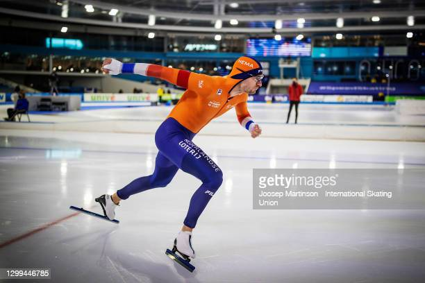 Thomas Krol of Netherlands competes in the Men's 1500m during day 2 of the ISU World Cup Speed Skating at Thialf on January 30, 2021 in Heerenveen,...