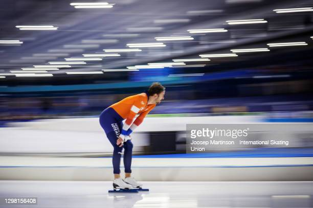 Thomas Krol of Netherlands looks on after competing in the Men's 1000m during day 3 of the ISU World Cup Speed Skating at Thialf on January 24, 2021...
