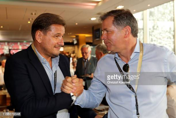 Thomas Kroth and Andreas Moeller during the Club of Former National Players Regional Meeting at Opel Arena on June 11 2019 in Mainz Germany