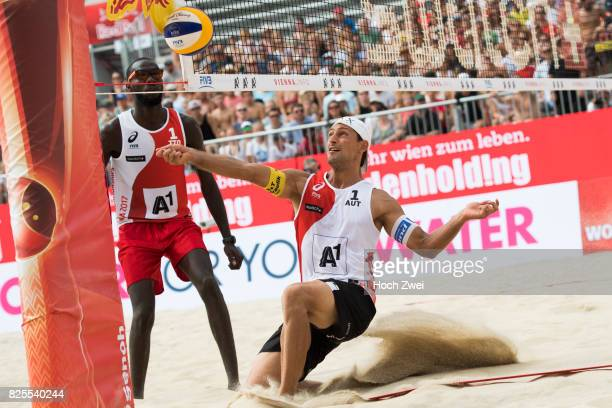 Thomas Kunert of Austria in action during Day 6 of the FIVB Beach Volleyball World Championships 2017 on August 2 2017 in Vienna Austria