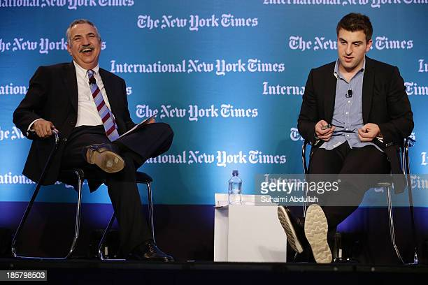 Thomas L. Friedman, Op-Ed columnist, The New York Times speaks with Brian Chesky, CEO and Co-Founder, AirBNB during the International New York Times...