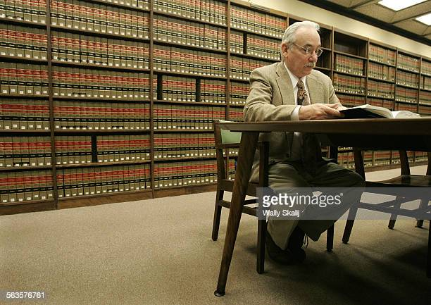 Thomas L Goldstein studies in the LA County Law Library in Downtown Los Angeles to review his own case that sent him to prison for 24–years for a...