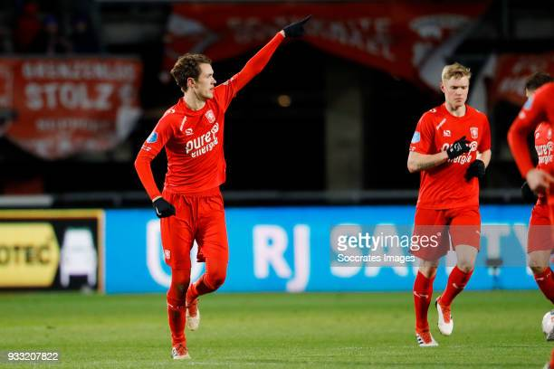 Thomas Lam of FC Twente celebrates 1-1 during the Dutch Eredivisie match between Fc Twente v Willem II at the De Grolsch Veste on March 17, 2018 in...