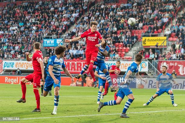 Thomas Lam of FC Twente hits the crossbar during the Dutch Eredivisie match between FC Twente Enschede and PEC Zwolle at the Grolsch Veste on April...