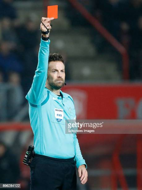 Thomas Lam of FC Twente receives a red card from referee Pol van Boekel during the Dutch KNVB Beker match between Fc Twente v Ajax at the De Grolsch...