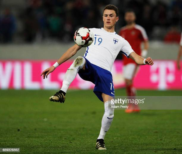 Thomas Lam of Finland in action during the Austria v Finland International Friendly match at Tivoli Stadium on March 28, 2017 in Innsbruck, Austria.