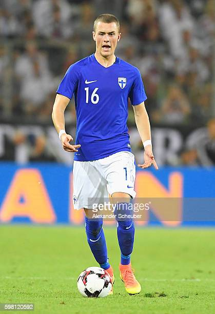 Thomas Lam of Finland in action during the International Friendly match between Germany and Finland at Borussia-Park on August 31, 2016 in...